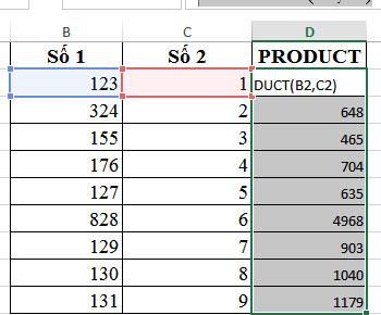 Hàm nhân  trong excel cách sử dụng hàm PRODUCT