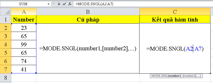 cach-su-dung-ham-MODE.SNGL-trong-excel-1