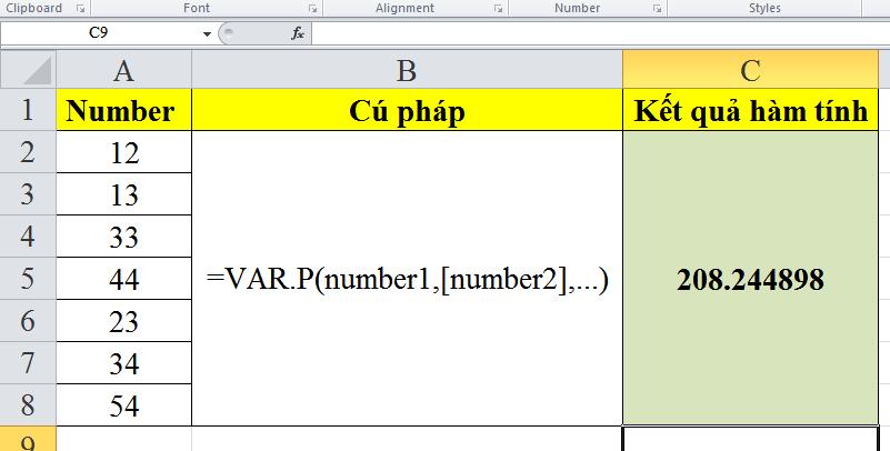 Cách sử dụng hàm tính var.p trong excel