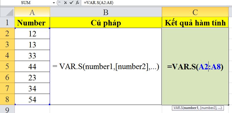 Giới thiệu về cách sử dụng hàm var.s trong excel