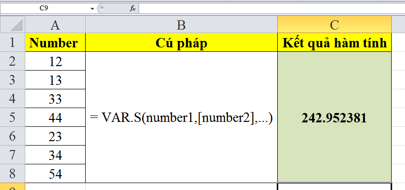 cach-su-dung-ham-VAR.S-trong-excel-4
