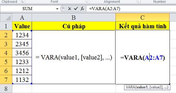 Cách sử dụng hàm vara trong excel