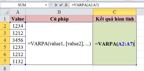 Giới thiệu về cách sử dụng hàm varpa trong excel