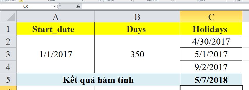 Giới thiệu về cách sử dụng hàm workday trong excel