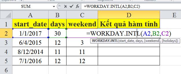 Cách sử dụng hàm workday.intl trong excel