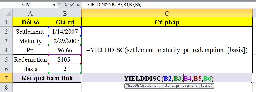 Giới thiệu về cách sử dụng hàm yielddisc trong excel