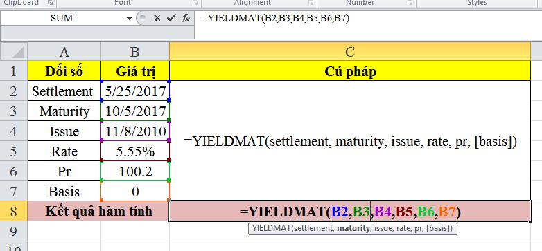 Cách sử dụng hàm yieldmat trong excel