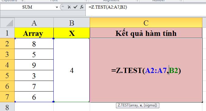 Giới thiệu về cách sử dụng hàm z.test trong excel
