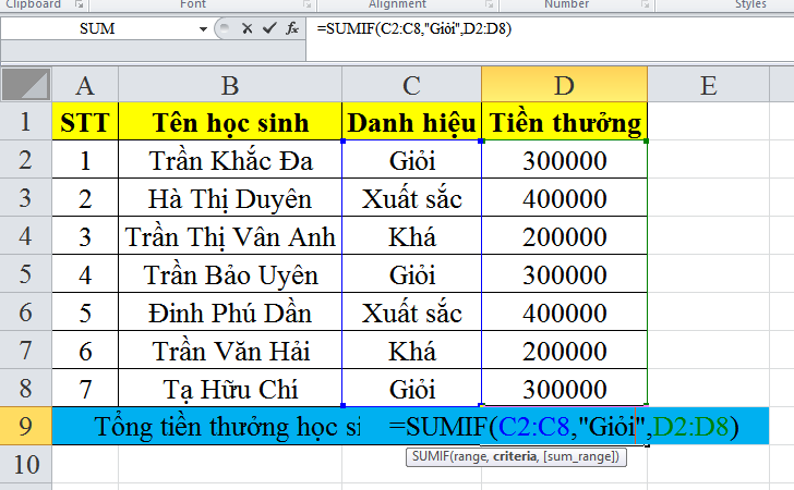 cach-su-dung-ham-SUMIF-trong-excel-1