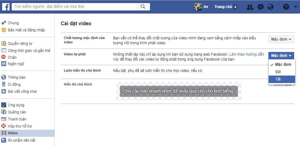 Hướng dẫn cách tắt chế độ tự động phát video trên facebook