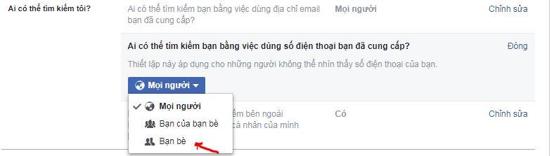 Hướng dẫn chặn tìm kiếm ních facebook bằng số điện thoai trên facebook