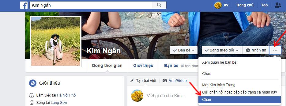 Cách chặn tài khoản facebook