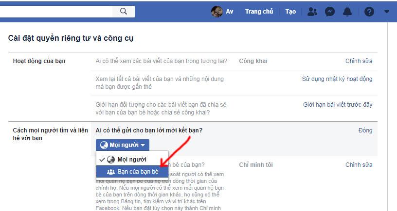 cách chặn kết bạn trên facebook