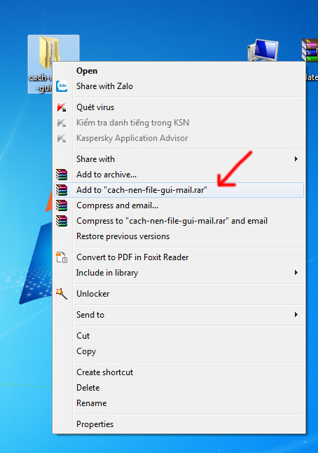 Cách nén file để gửi mail
