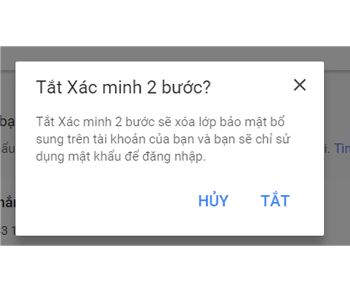 Cách tắt tính năng bảo mật bước 2 trong gmail