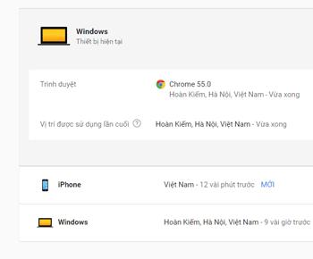 Kiểm tra sự hoạt đông của gmail gần đây