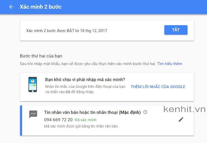 Hướng dẫn xác minh bước 2 gmail, bật xác minh 2 bước gmail