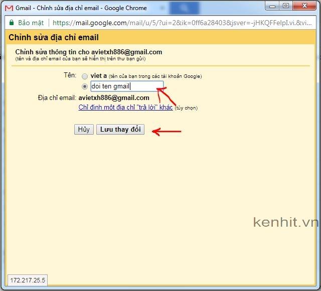 Hướng dẫn cách đổi tên gmail