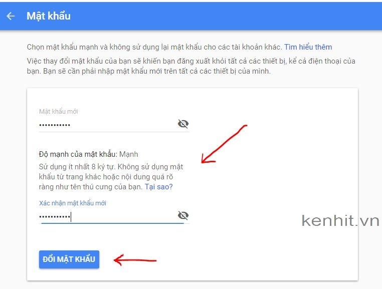 Hướng dẫn cách thay đổi mật khẩu (password) gmail