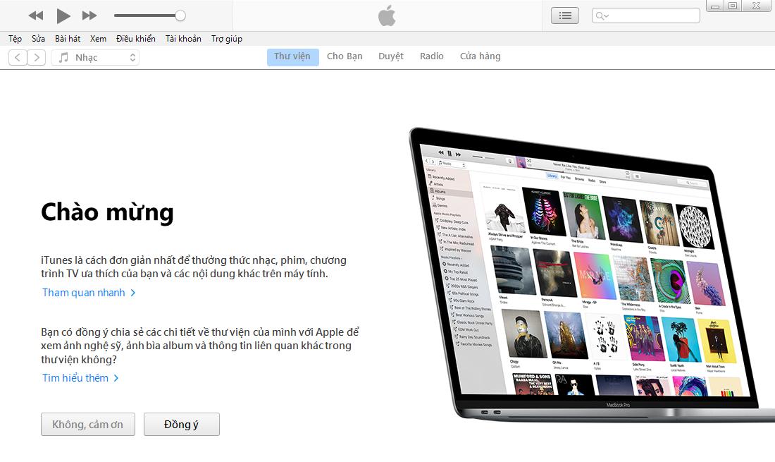 Cài đặt iTunes cho máy tính