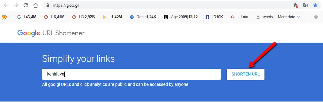Cách tạo link rút gọn google
