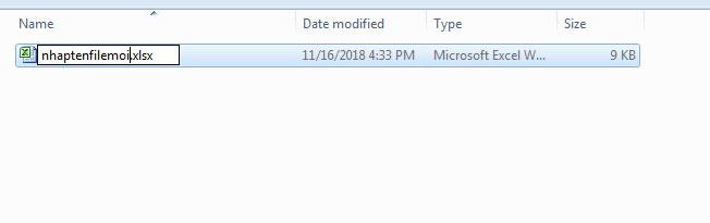 Cách đổi tên file trong excel