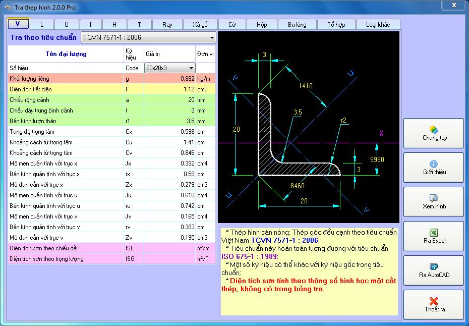 Phần mềm tra thép hình