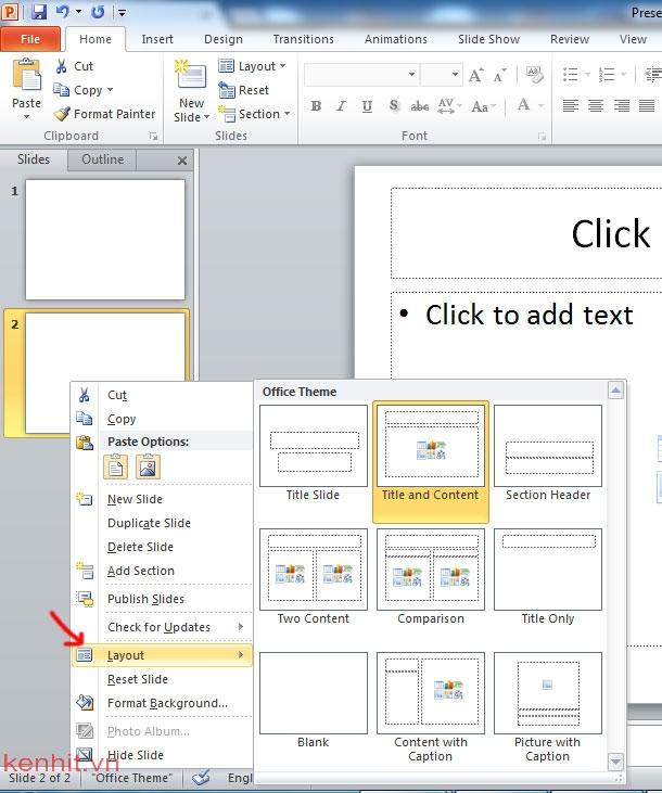 Hướng dẫn cách chèn slide trong powerpoint