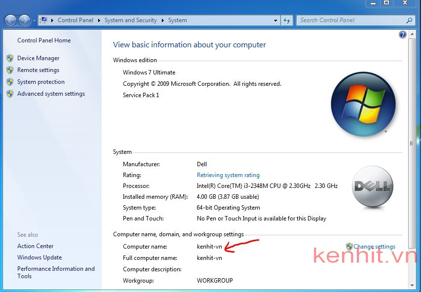 Hướng dẫn cách xem tên máy tính trong windows 7
