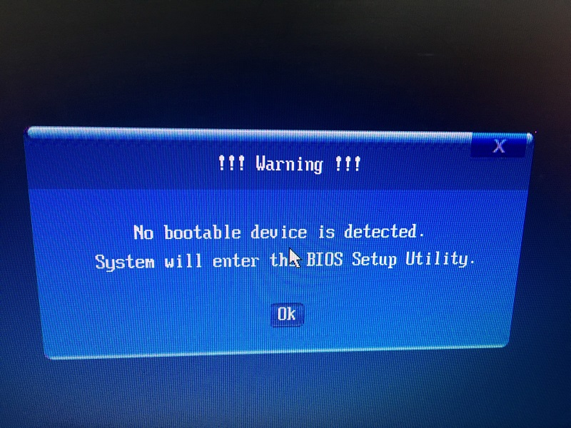 Cách khắc phục lỗi No bootable device is detected system will enter the bios setup utility