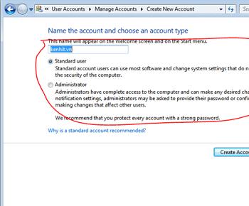 Cách tạo và xóa user (người dùng) trong windows 7