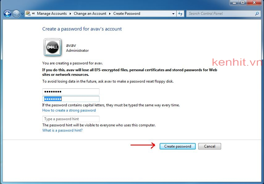 Cách cài mật khẩu cho máy tính windows 7, cách đặt password cho win 7