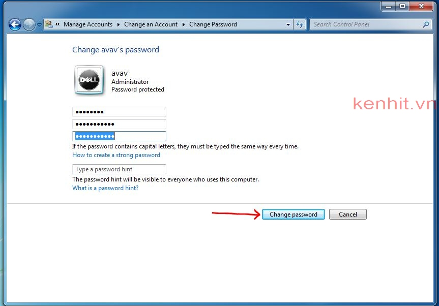 Hướng dẫn cách đổi mật khẩu máy tính windows 7
