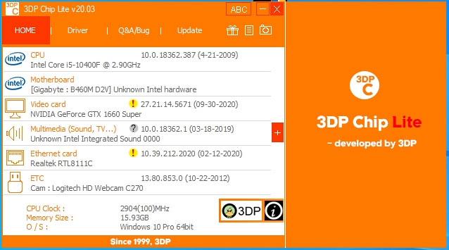 Tải phần mềm 3dp Chip hỗ trợ tải driver cho máy tính