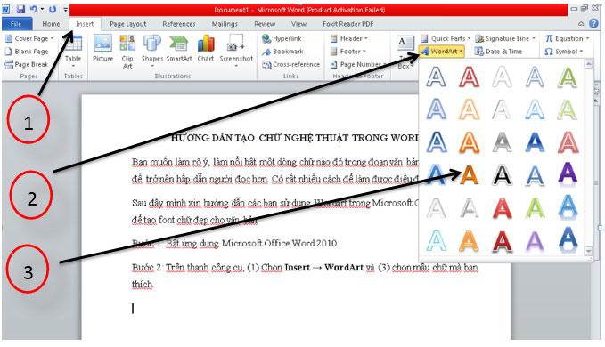 cách in văn bản trong word 2010