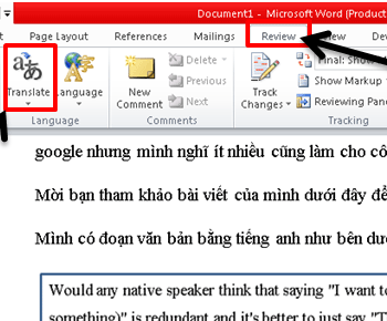 Dịch văn bản với công cụ translate trong word