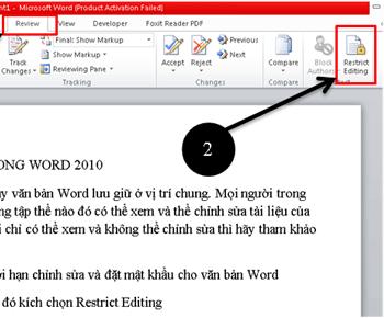 Giới hạn chỉnh sửa trong word