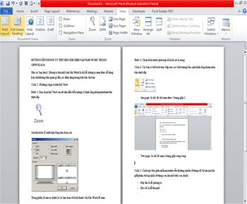 Hướng dẫn phóng to thu nhỏ khi xem văn bản word trong office