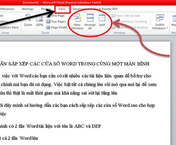 Hướng dẫn sắp xếp các cửa sổ word trong cùng một màn hình