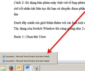Hướng dẫn sử dụng công cụ switch window trong word
