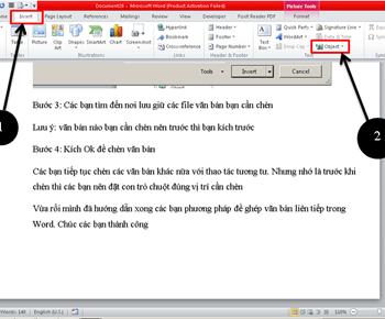 Hướng dẫn ghép nhiều văn bản vào cùng một file word trong microsoft