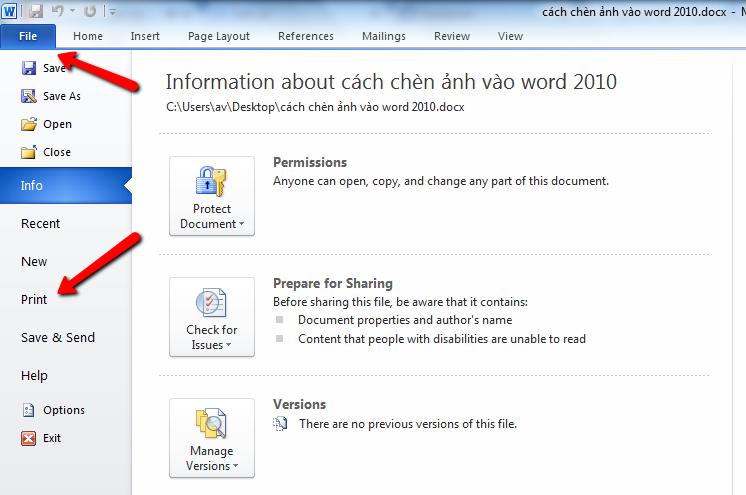 Xem trước khi in trong word 2010