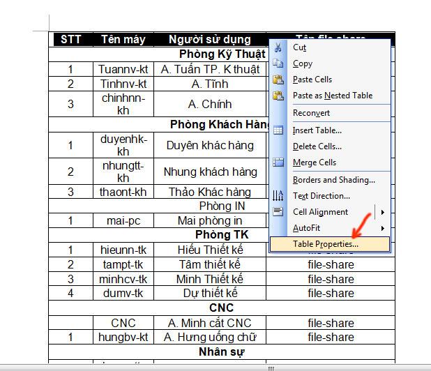 Hướng dẫn cách lặp lại tiêu đề trong word 2003