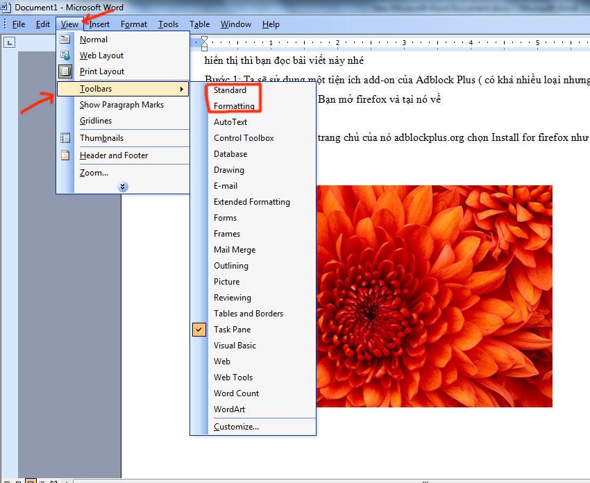 Cách lấy thanh công cụ trong word 2003